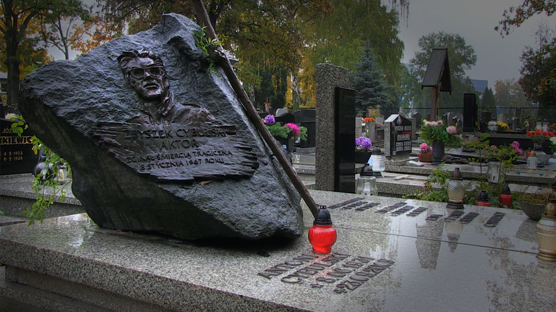 Grób Zbyszka Cybulskiego na cmentarzu w Katowicach, fot. Andrzej Skorski