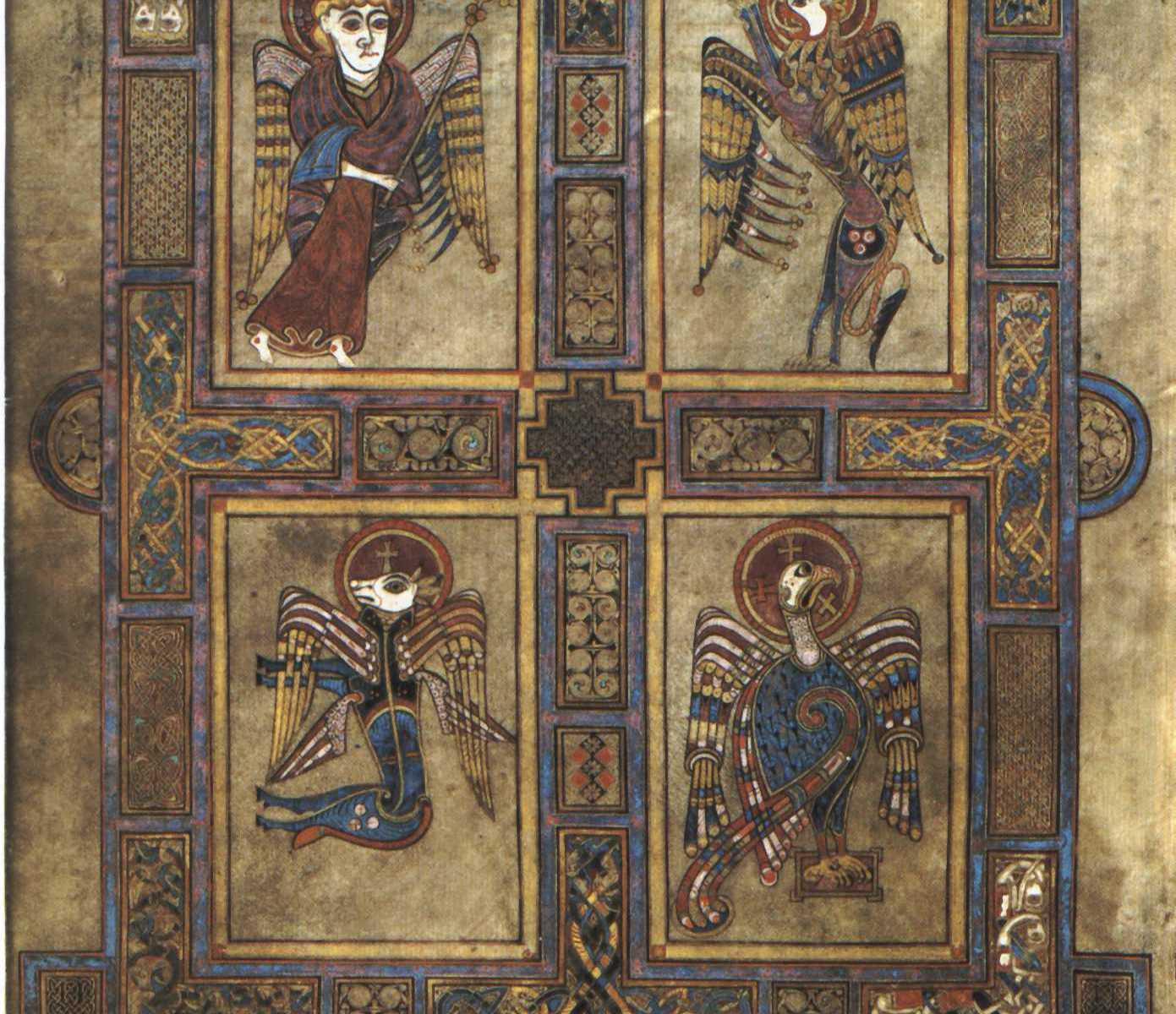 Tetramorfa w Księdze z Kells, VIII w.