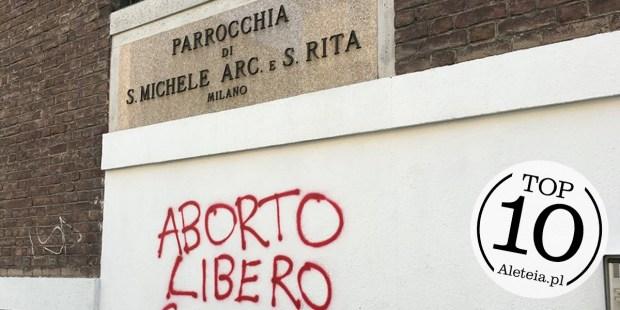 Bluźniercze graffiti na murze kościoła