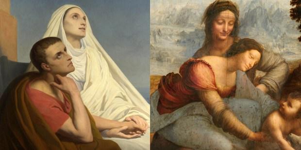 Od lewej do prawej: Św. Augustyn z matką, św. Moniką, obraz autorstwa Ary Scheffer, 1846 r. Dziewica z dzieciątkiem i św. Anna, obraz Leonardo Da Vinci z ok. 1503-1519 r.