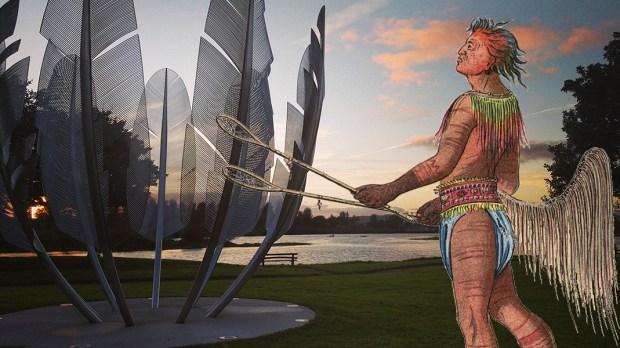 Pomnik w Irlandii i przedstawiciel plemienia Chocktaw
