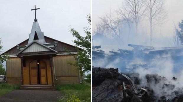 Spalony kościół na Syberii