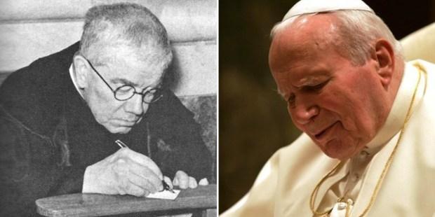 Z lewej o. Dolindo, z prawej św. Jan Paweł II