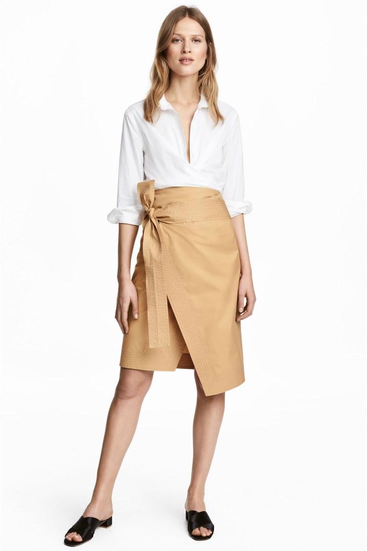 Bawełniana spódnica kopertowa marki H&M