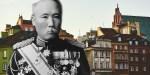 Generał Fukushima na tle warszawskiej starówki
