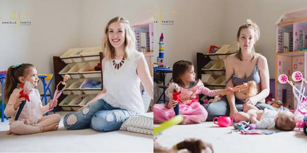 Po lewej uśmiechnięta matka, po prawej matka z depresją poporodową