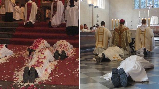 Diakoni leżą na posadzce w trakcie śpiewania litanii do Wszystkich Świętych