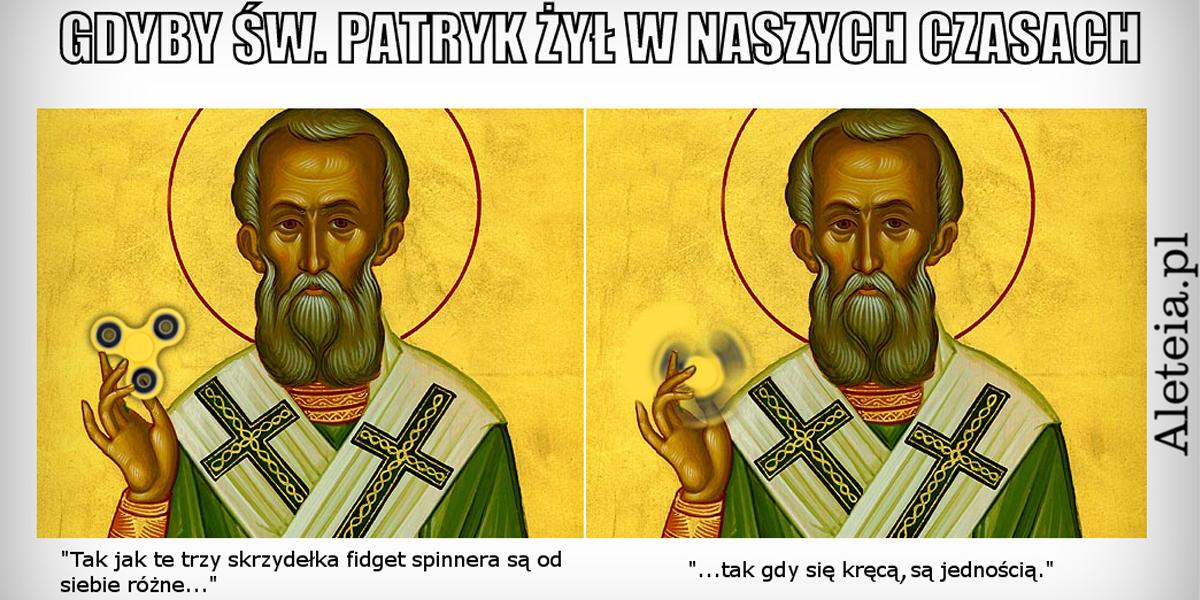 Mem ze św. Patrykiem i spinnerem