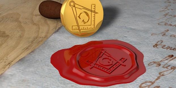 Pieczęć z symbolami masonerii