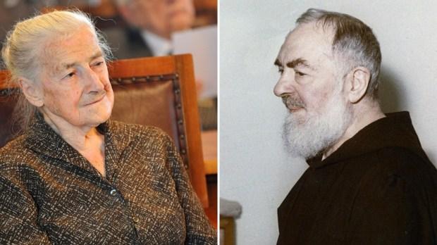 Po lewej Wanda Półtawska, z prawej Ojciec Pio