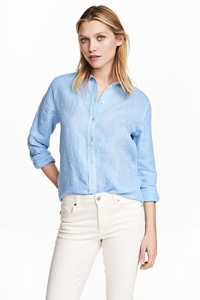 Lniana niebieska koszula marki H&M