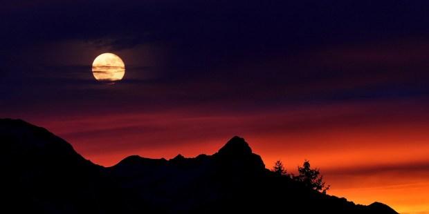 MOUNTAINS,MOON,SUNSET