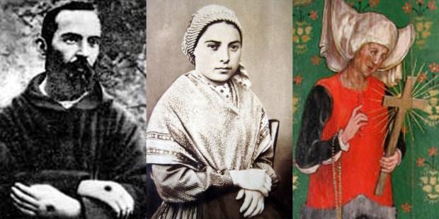 OJCIEC PIO,BERNADETTE OF SOUBIROUS,JULIANNA Z NORWICH