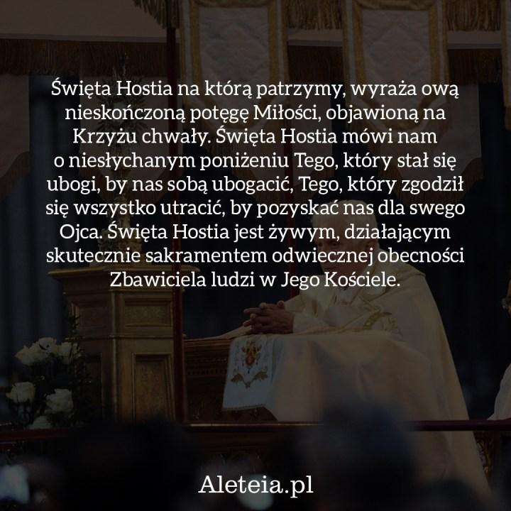 PAPIEŻ BENEDYKT XVI O EUCHARYSTII