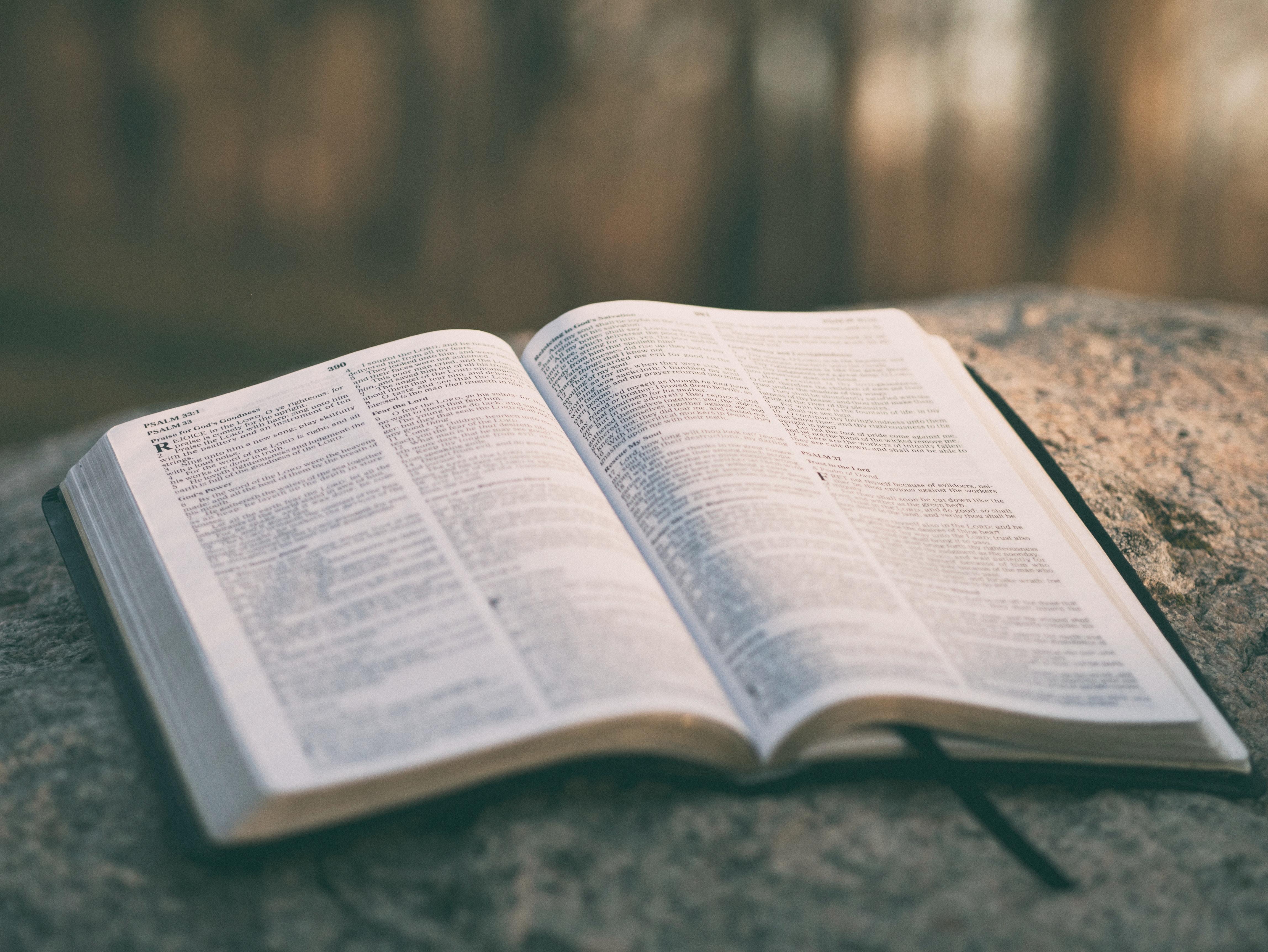 Pismo Święte otwarte na kamieniu