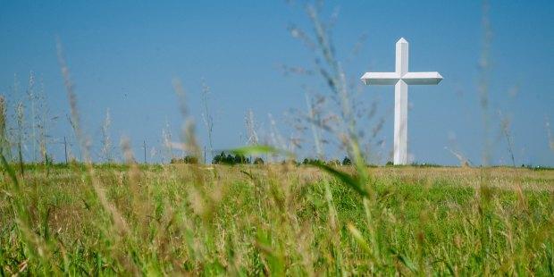 Biały krzyż na polu