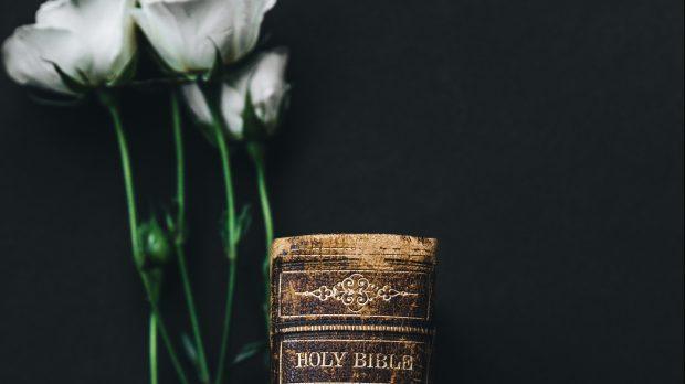 Grzbiet Pisma Swietego oraz kwiaty