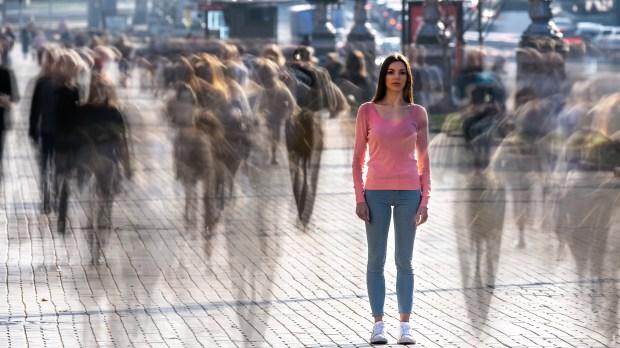 girl stop in the street