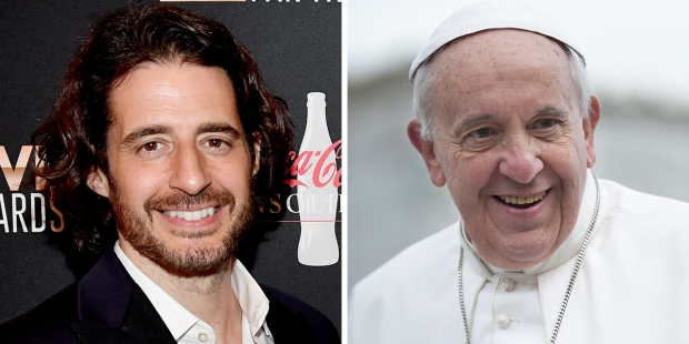 Jonathan Roumie and Pope Francis